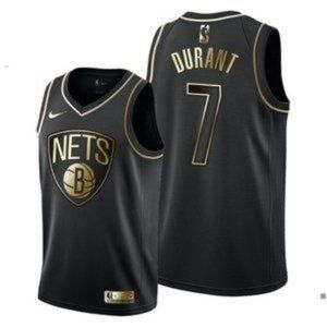 Brooklyn Nets Kevin Durant Black Gold Jersey
